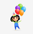 happy young girl character with birthday cone and vector image