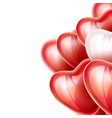 heart balloon silk ribbon realistic set vector image vector image