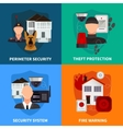 Home Security 2x2 Design Concept Set vector image vector image