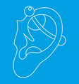 human ear with piercing icon outline vector image vector image