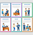 interview candidate talking to director posters vector image vector image