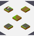 isometric road set of turning footpath repairs vector image vector image