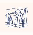 line art sunny desert landscape wild land scenery vector image
