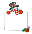 little cute smiling snowman cartoon vector image vector image