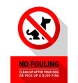 no dog fouling sign modern trendy label for city vector image vector image