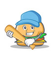playing baseball burger character fast food vector image vector image