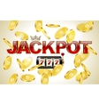 Red glossy jackpot text with crown slot machine vector image