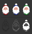 santa claus isolated red blue green version vector image vector image