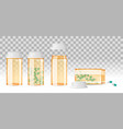 set of closed and open pill bottles on the vector image vector image