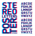 stereo letters alphabet stereoscopic poster vector image vector image