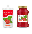 strawberry jam packaging realistic mockups vector image