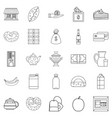 street cafe icons set outline style vector image vector image