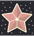 stripped red star icon sticker on dark starred vector image vector image