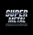 super metall 3d font chrome shiny alphabet vector image vector image