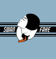 swan fake hand drawn of girl with swan template vector image