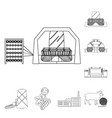 textile industry outline icons in set collection vector image