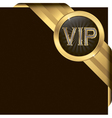 Vip golden label with diamonds and gold ribbon vector image vector image