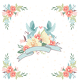 wedding invitation with ribbon flowers and birds vector image vector image