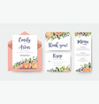 wedding invite invitation menu thank you rsvp vector image vector image