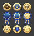 blue award rosettes insignia and heraldic medals vector image