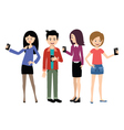 Selfie people set on the white background vector image