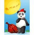 a panda wearing santas hat while eating a cane vector image vector image