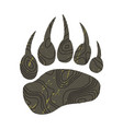 a trace a bear silhouette of paw vector image vector image