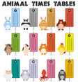 animal times table on white background vector image vector image
