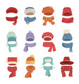 autumn and winter hats with a warm scarf vector image