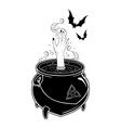boiling magic cauldron with witch hand and bats vector image vector image