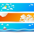 bright abstract background with white paper clouds vector image vector image