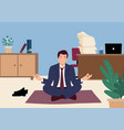 businessman doing yoga in office vector image