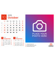calendar for october 2019 design print template vector image vector image