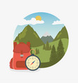 camping zone scene with compass guide vector image