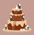 cartoon color characters people wedding cake vector image vector image