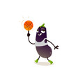 Cartoon eggplant character basketball