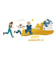 children running to hug grandfather standing on vector image