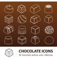 chocolate outline icons vector image vector image