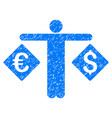 currency trader grunge icon vector image vector image