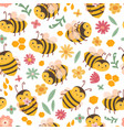 cute bee pattern bees and flowers cartoon flying vector image vector image