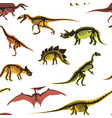 dinosaurs and pterodactyl types of animals vector image vector image