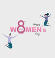 eight icon and women with pink happy vector image vector image