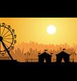 flat amusement park scenery at sunrise vector image vector image