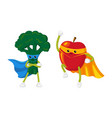 flat fruit vegetable character in mask set vector image