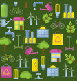 green seamless pattern with eco symbols vector image