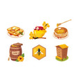 honey and beekeeping elements set honeycomb vector image vector image