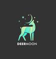 logo deer moon gradient colorful style vector image vector image
