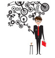 man in suit with cogs on white background vector image vector image