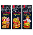 menu for fast food restaurant banners vector image vector image
