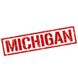 michigan red square stamp vector image vector image